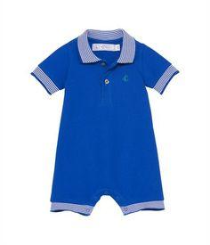 Combinaison courte bébé garçon en piqué de coton col polo bleu Surf - Petit Bateau