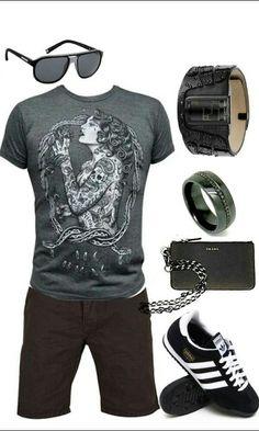 Men's black short outfit