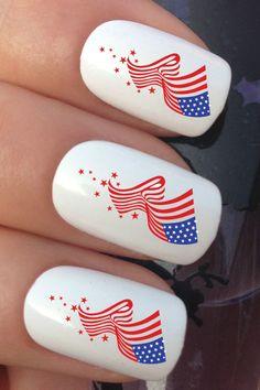 USA AMERICA AMERICAN FLAG WATER TRANSFER DECALS STICKERS #nails #nailart #nailartstickers Nail Art Set, Water Transfer, Nail Art Stickers, National Flag, Nails Inspiration, American Flag, Flags, Nail Art Designs, Nailart