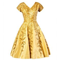 Preowned Vintage 1950s 50s Gold Yellow Hand-beaded Couture Silk Cocktail Dress