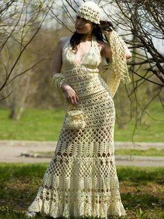 Crochet top and skirt with matching shawl, purse and cap…. Crochet Skirts, Crochet Clothes, Vintage Crochet, Crochet Lace, The Dress, Dress Skirt, Crochet Wedding Dresses, Crochet Woman, Beautiful Crochet