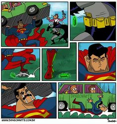 """Batman's kryptonite causes Supes to cry, wet his pants, and drop a car full of people onto himself"""