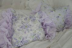 SOLD*  Shabby Chic Petticoat Ruffle Edge Pillow..Lavender Wildflowers