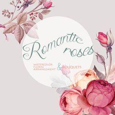 Flower Clipart Watercolor Marsala Color Roses by WatercolorSeasons