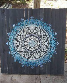 Learn how to craft DIY reclaimed wood wall art using the Prosperity Mandala Stencil from Cutting Edge Stencils. http://www.cuttingedgestencils.com/prosperity-mandala-stencil-yoga-mandala-stencils-designs.html