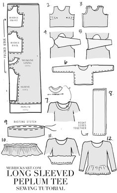 Merrick's Art // Style + Sewing for the Everyday Girl: LONG SLEEVED PEPLUM TEE SEWING TUTORIAL