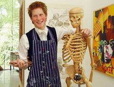 Pin for Later: See Prince Harry's Evolution From Cute Kid to Dashing Prince  Harry took a break from painting at Eton in 2003 to play around with a skeleton.