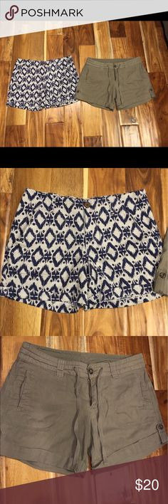 2 pair of linen blend shorts Both pair of shorts are in very good condition and sz 8. The olive pair is Old Navy brand, and the navy and gray pair are Kenar. Both have cuffs and are a navy blend Shorts