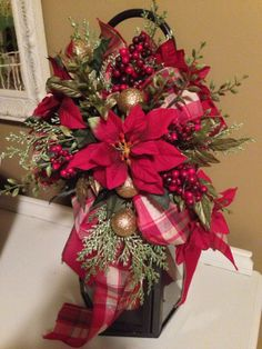 Christmas  Poinsettia Holiday Lantern Swag by RefreshwithStyle, $28.00