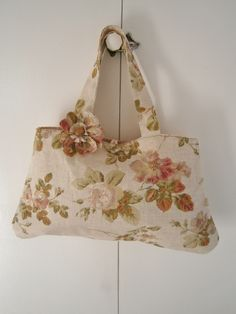 A bag made from recycled linen...with pretty flower added.