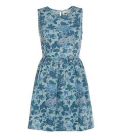 Blue Floral Print Denim Skater Dress £22.99