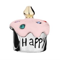 Pink Happy birthday cupcake with sprinkles CZ charm/ happy birthday charm/ Birthday charm bead for European charm bracelets. This large hole charm also fits PANDORA charm bracelets and similar chains. -One side of teh Charm says HAPPY next side says B. Happy Birthday Cupcakes, Pink Happy Birthday, Birthday Cake, Birthday Gifts, Pandora Beads, Pandora Bracelet Charms, Charm Bracelets, Pandora Birthday Charms, Gifts For My Wife