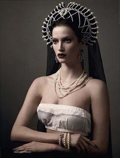 The Kokoshnik Story: model Marta Berzkalna, photographer Mariano Vivanco, in Russian Vogue April 2011, styled by Katerina Mukhina