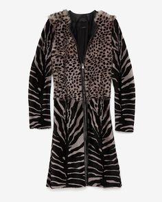Joseph Mixed Animal Print Long Fur Coat