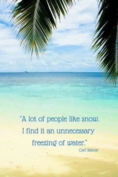 """A lot of people like snow.  I find it an unnecessary freezing of water.""  AMEN!"