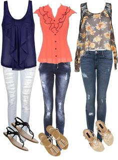 Cute ripped skinny jeans outfits