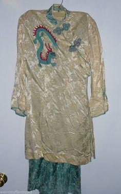 2pc rayon Japanese kimono long dress & pants dragon embroidered small