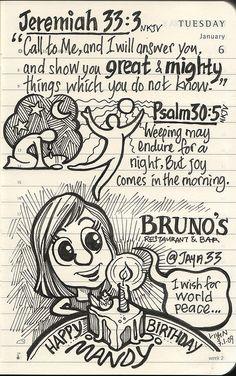 Journal, 6.1.2009 | Flickr - Photo Sharing!  Jeremiah 33:3  Scripture art.  She is a wonderful artist.