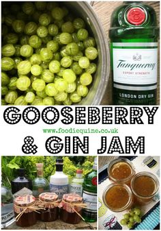Gooseberry and Gin Jam Gooseberry and Gin Jam www. Play Gooseberry this summer with my boozy berry jam with a tangy juniper kick. Easy to make Gooseberry & Gin Jam is the perfect way to deal with a glut of berries. Jam Recipes, Real Food Recipes, Snack Recipes, Dessert Recipes, Jello Desserts, Fruit Recipes, Vegetarian Recipes, Healthy Recipes, Snacks