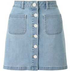Miss Selfridge Bleach Denim Skirt ($49) ❤ liked on Polyvore featuring skirts, bottoms, clothing - skirts, pale blue, blue skirt and miss selfridge