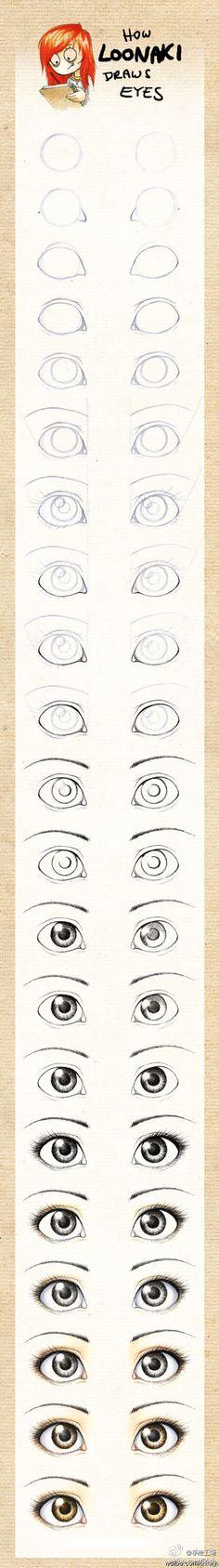 【超级经典:眼睛画法手绘教程】从线稿到简单上色,过程描述的很清楚,喜欢手绘的童鞋快收~!