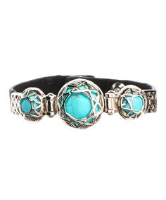 I Love Accessories Black & Turquoise Three-Stone Leather Bracelet | zulily