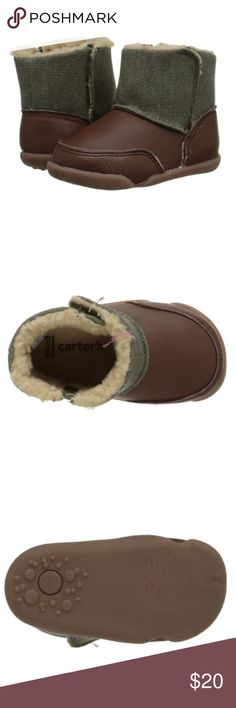 Carter's Leather Boots LOWEST Toddler boots with leather bottoms and green accents at top. Man made wool on the inside. Stage 2 stand fits 9-12 months. Carter's Shoes Baby & Walker