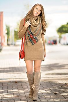 DRESS -turtle neck sweater dress(available in 4 colors!) | SCARF -camel plaid blanket scarf (just $25!)| BOOTS - suede heeled boots | BAG - chloé mini marcie cross body | Fall Outfit | Fall Style Ideas | Fall Outfit Ideas | Fashion for Fall | Style for Fall || A Lonestar State of Southern
