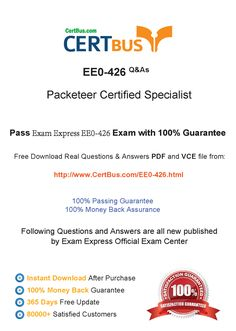 Candidate need to purchase the latest ExamExpress EE0-426 Dumps with latest ExamExpress EE0-426 Exam Questions. Here is a suggestion for you: Here you can find the latest ExamExpress EE0-426 New Questions in their ExamExpress EE0-426 PDF, ExamExpress EE0-426 VCE and ExamExpress EE0-426 braindumps. Their ExamExpress EE0-426 exam dumps are with the latest ExamExpress EE0-426 exam question. With ExamExpress EE0-426 pdf dumps, you will be successful.
