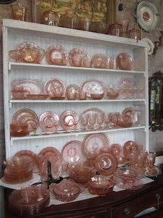 So many different patterns and different makers. There is quite a story behind depression glass and how it came into existence. In the late and when the States was in th… Antique Dishes, Antique Glassware, Vintage Dishes, Vintage Kitchen, Antique Bottles, Vintage Bottles, Vintage Perfume, Pink Depression Glassware, Pink Dishes