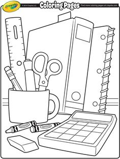 Back to School Items Coloring Pages Crayola Coloring Pages, School Coloring Pages, Coloring For Kids, Printable Coloring Pages, Coloring Pages For Kids, Coloring Sheets, Coloring Books, Coloring Worksheets, Back To School Crafts