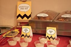 Food label cards - can also make mini snoopy dog houses