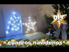 DECORACION NAVIDEÑA | COMO HACER CUADRO LUMINOSO - YouTube Christmas Time, Christmas Ornaments, Navidad Diy, Canvas, Holiday Decor, Youtube, Winter, Home Decor, Helpful Hints
