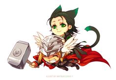 Chibi Thor, Catboy!Loki fanart found on Tumblr