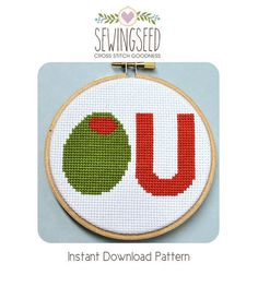 Olive U Counted Cross Stitch Pattern Instant by Sewingseed on Etsy, $4.00