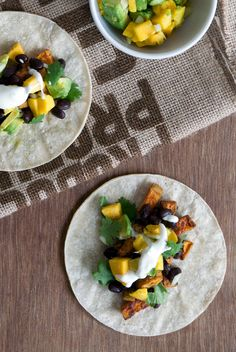 sweet potato tacos with black beans and mango // 1000threadsblog.com
