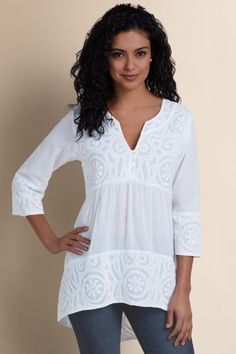 Treves Tunic Many hours go into creating the exquisite artisanal cutwork and white-on-white embroidery of this cool cotton voile tunic, detailed with a sexy deep V neckline, m