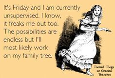 It's Friday... that means 62 hours of uninterrupted #genealogy time before I…