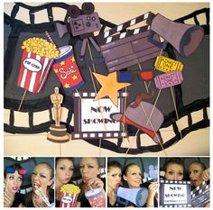 movie photo booth props for a movie night, Oscar bash, Hollywood party or movie birthday party