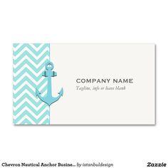 Chevron Nautical Anchor Business Card