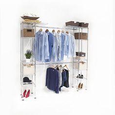 Portable Wardrobe Storage Systems Closet Hanger Organizer Rack Shelves Clothes