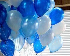 Ballons-party Balloons-children's Party-large White&blue&light Blue Balloons 30 Day Money-back Guarantee! Round Balloons, Large Balloons, White Balloons, 30th Balloons, Latex Free Balloons, Balloons Online, Qualatex Balloons, Thing 1, Natural Latex