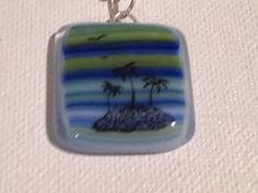 Fused glass pendant with Palm tree decals by fusedglassbyjemima, $20.00