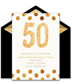 Customizable, free Golden 50 online invitations. Easy to personalize and send for a 50th birthday party. #punchbowl
