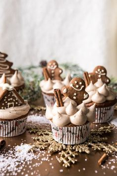 Gingerbread Cupcakes with Cinnamon Browned Butter Buttercream. - Half Baked Harvest - Gingerbread Cupcakes with Cinnamon Browned Butter Buttercream - Mini Desserts, Holiday Desserts, Holiday Baking, Holiday Treats, Holiday Recipes, Christmas Recipes, Holiday Cupcakes, Winter Cupcakes, Christmas Cupcakes Decoration