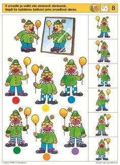 wat ziet de clown in de spiegel? Visual Perception Activities, Brain Activities, Kindergarten Lesson Plans, Preschool Activities, Educational Games For Kids, Kids Learning, Clown Cirque, Clown Crafts, Sequencing Cards