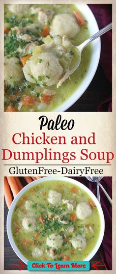 #FastestWayToLoseWeight by EATING, Click to learn more, Paleo Chicken and Dumplings Soup- gluten free, dairy free, and pure comfort food! A meal the whole family will love and easy to make. , #HealthyRecipes, #FitnessRecipes, #BurnFatRecipes, #WeightLossRecipes, #WeightLossDiets