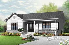 Plain-pied bungalow, très économique, espace famille ouvert, 2+ chambres, galerie abritée   Découvrez le plan du r-d-c en cliquant ici : http://www.dessinsdrummond.com/detail-plan-de-maison/info/1003132.html