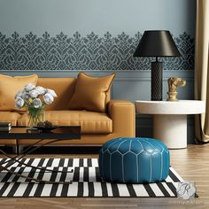 Use this large-scale, Moroccan Lace Stencil border alone on painted furniture or feature walls. Mix and match with our other Moroccan border stencils for stenciled stairs and floors: Fez Block Border,