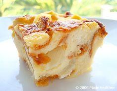 Light Pear Bread Pudding with Hawaiian Bread